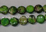 CDE936 15.5 inches 10mm flat round dyed sea sediment jasper beads