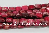 CDI19 16 inches 8*8mm square dyed imperial jasper beads wholesale