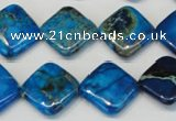 CDI248 15.5 inches 16*16mm diamond dyed imperial jasper beads