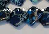 CDI258 15.5 inches 20*20mm diamond dyed imperial jasper beads