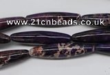 CDI383 15.5 inches 7*30mm rice dyed imperial jasper beads