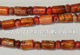 CDI505 15.5 inches 3*6mm rondelle & 6*9mm tube dyed imperial jasper beads