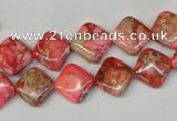 CDI568 15.5 inches 10*10mm diamond dyed imperial jasper beads