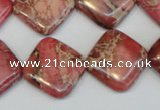 CDI570 15.5 inches 18*18mm diamond dyed imperial jasper beads