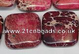 CDI626 15.5 inches 25*25mm square dyed imperial jasper beads