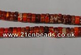CDI733 15.5 inches 3*6mm heishi dyed imperial jasper beads