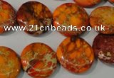 CDI757 15.5 inches 18mm flat round dyed imperial jasper beads