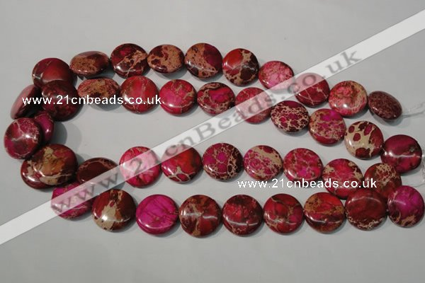 CDI787 15.5 inches 20mm flat round dyed imperial jasper beads