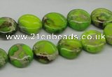 CDI91 16 inches 12mm flat round dyed imperial jasper beads wholesale