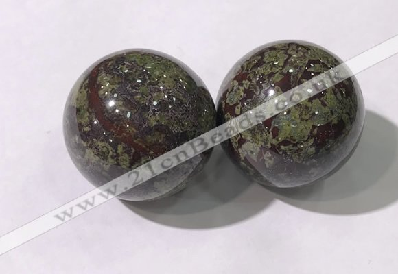 CDN1288 40mm round dragon blood jasper decorations wholesale