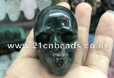CDN557 35*50*40mm skull blood jasper decorations wholesale