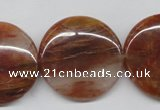 CDQ26 15.5 inches 30mm flat round natural red quartz beads