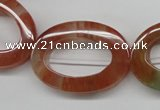 CDQ55 15.5 inches 25*35mm oval donut natural red quartz beads wholesale