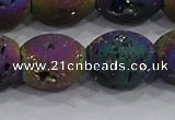 CDQ641 8 inches 12*14mm rice druzy quartz beads wholesale