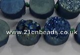 CDQ704 8 inches 12mm coin druzy quartz beads wholesale