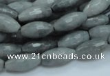 CEE27 15.5 inches 8*16mm faceted rice eagle eye jasper beads