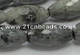 CEE32 15.5 inches 15*30mm faceted rice eagle eye jasper beads