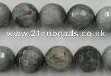CEE355 15.5 inches 14mm faceted round eagle eye jasper beads