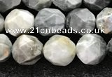 CEE531 15.5 inches 8mm faceted nuggets eagle eye jasper beads