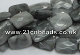 CEE59 15.5 inches 8*12mm faceted rectangle eagle eye jasper beads
