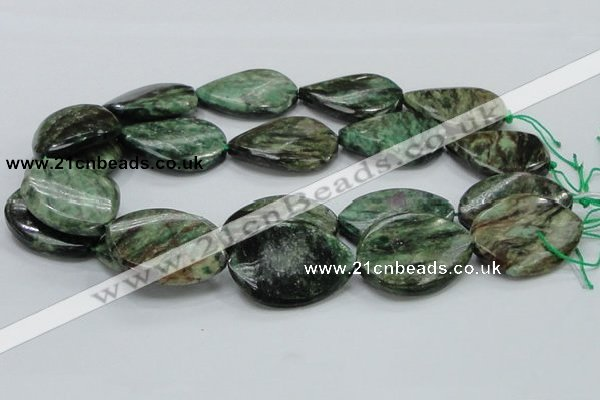 CEM30 15.5 inches 30*40mm twisted teardrop emerald gemstone beads