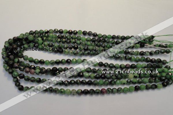 CEP105 15.5 inches 6mm faceted round epidote gemstone beads
