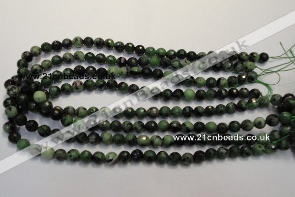 CEP106 15.5 inches 8mm faceted round epidote gemstone beads