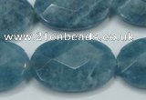 CEQ196 15.5 inches 20*30mm faceted oval blue sponge quartz beads
