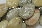 CFA15 15.5 inches 18*25mm flat teardrop chrysanthemum agate beads
