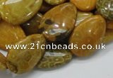 CFA38 15.5 inches 18*25mm flat teardrop yellow chrysanthemum agate beads