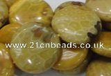 CFA44 15.5 inches 25mm flat round yellow chrysanthemum agate beads