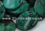 CFA74 15.5 inches 22*30mm twisted oval green chrysanthemum agate beads