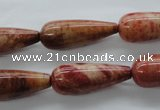 CFC102 15.5 inches 10*25mm teardrop fossil coral beads wholesale