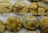 CFC111 15.5 inches 18mm flat round fossil coral beads wholesale