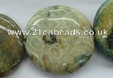 CFC126 15.5 inches 30mm flat round fossil coral beads wholesale