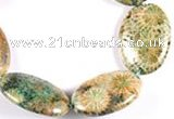 CFC20 15.5 inches 18*25mm oval fossil coral  beads Wholesale