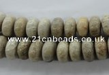 CFC72 15.5 inches 6*10mm rondelle fossil coral beads wholesale