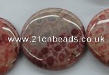 CFC84 15.5 inches 30mm flat round fossil coral beads wholesale