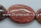 CFC87 15.5 inches 30*40mm oval fossil coral beads wholesale
