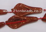 CFG04 15.5 inches 18*38mm carved trumpet flower goldstone beads