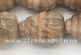 CFG1518 15.5 inches 15*20mm carved teardrop moonstone beads