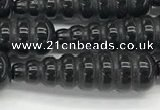 CFG1534 15.5 inches 10*35mm carved teardrop black agate beads