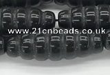 CFG1545 15.5 inches 10*30mm carved rice black agate beads