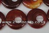 CFG277 15.5 inches 25mm carved donut red agate beads