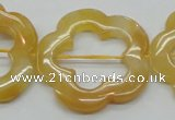 CFG39 15.5 inches 35mm carved flower yellow jade gemstone beads