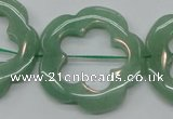 CFG40 15.5 inches 35mm carved flower green aventurine jade beads
