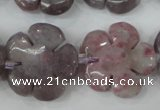 CFG459 15.5 inches 24mm carved flower lilac jasper beads