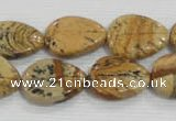 CFG823 12.5 inches 15*20mm carved leaf picture jasper beads wholesale