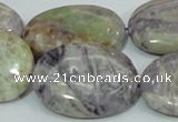 CFJ15 15.5 inches 30*40mm oval natural purple flower stone beads
