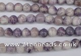 CFJ24 15.5 inches 6mm round natural purple flower stone beads